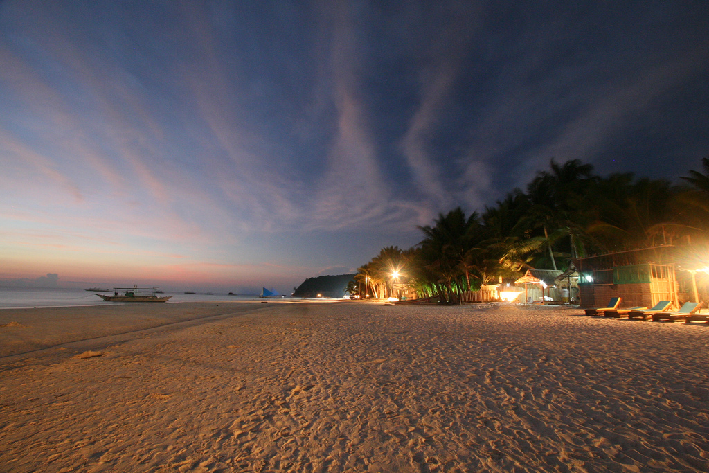 White Beach at night
